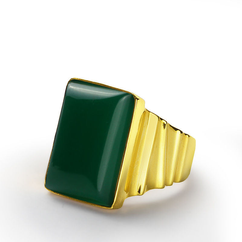Men's Ring in 10k Yellow Gold with Natural Green Agate, Men's Statement Ring - J  F  M