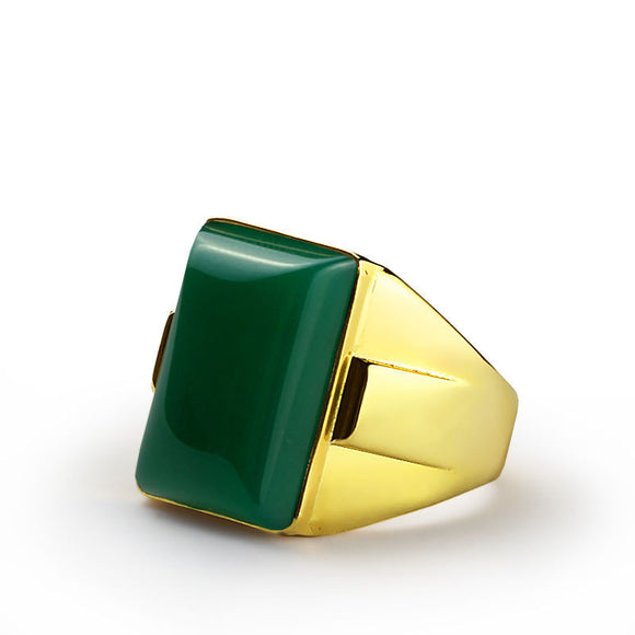 Men's Ring in 14k Yellow Gold with Natural Green Agate Stone - J  F  M