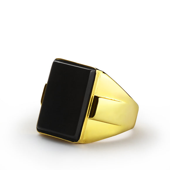 14k Yellow Gold Men's Ring with Black Onyx Stone, Statement Ring for Men - J  F  M