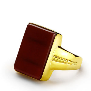 14k Yellow Gold Ring for Men with Natural Red Agate Stone - J  F  M