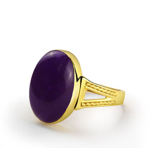 10k Yellow Gold Men's Ring with Purple Agate Natural Stone - J  F  M