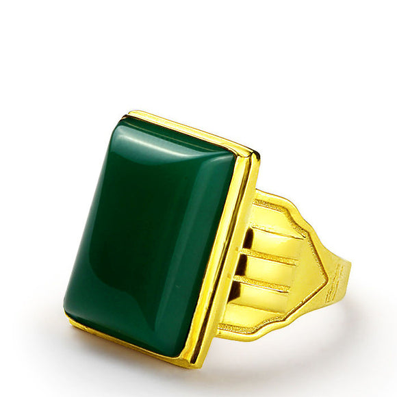 14k Yellow Solid Gold Men's Ring with Green Agate Natural Stone - J  F  M