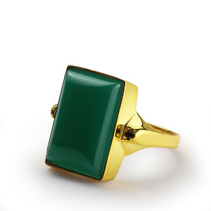 Men's Ring in 14k Yellow Gold with Green Agate Stone - J  F  M