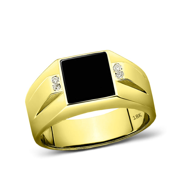 18K Solid Yellow Fine Gold Black Onyx Mens Ring 4 Natural Diamond Accents