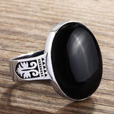 Sterling Silver Ring for Men with Black Onyx Natural Gemstone - J  F  M