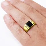Mens Ring 10k Fine Solid Gold with Black Onyx and 2 DIAMOND Accents in All Sizes