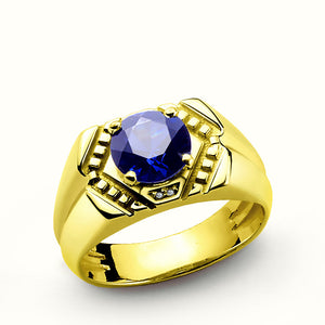 Blue Sapphire Men's Ring in 10k Yellow Gold with Genuine Diamonds, Statement Ring for Men - J  F  M