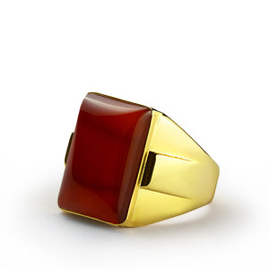 Men's Ring with Natural Red Agate Stone in 10k Yellow Gold - J  F  M