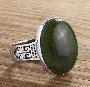 Men's Green Agate Gemstone Ring in Sterling Silver - J  F  M