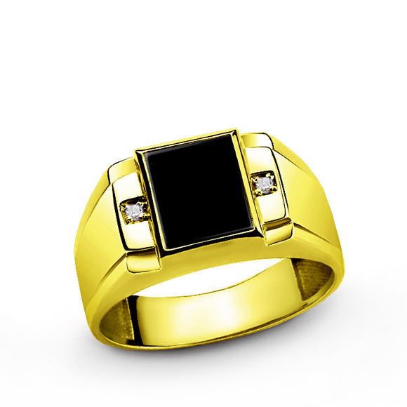 Mens Ring 14k Fine Solid Gold with Black Onyx and 2 DIAMOND Accents