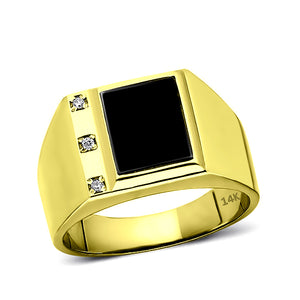 Real Fine 14K Yellow Gold Black Onyx Mens Ring with 0.06ct Natural 3 Diamonds