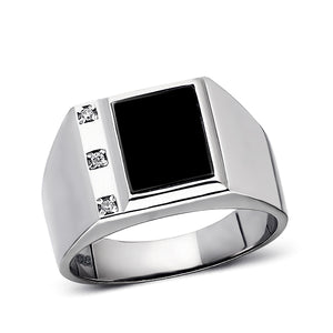 Real 925 Solid Sterling Silver Black Rectangle Onyx Ring For Men with 3 Diamonds