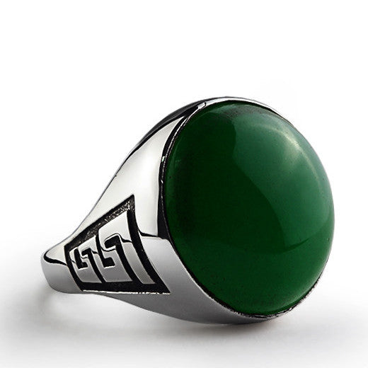 Men's Statement Ring with Natural Jade Stone in 925 Sterling Silver - J  F  M