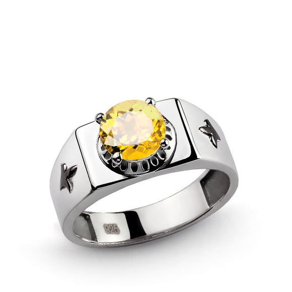 Men's Signet Ring in 925 Sterling Silver with Yellow Citrine Gemstone - J  F  M
