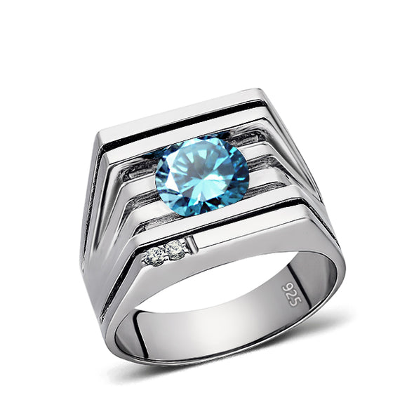 Mens Ring Blue TOPAZ GEMSTONE and 2 DIAMONDS in Solid 925 Sterling Silver All Sz