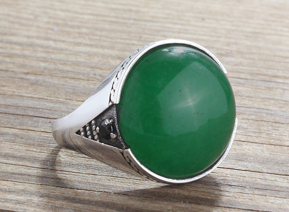 Men's Sterling Silver Ring with Natural Green Jade Gemstone - J  F  M