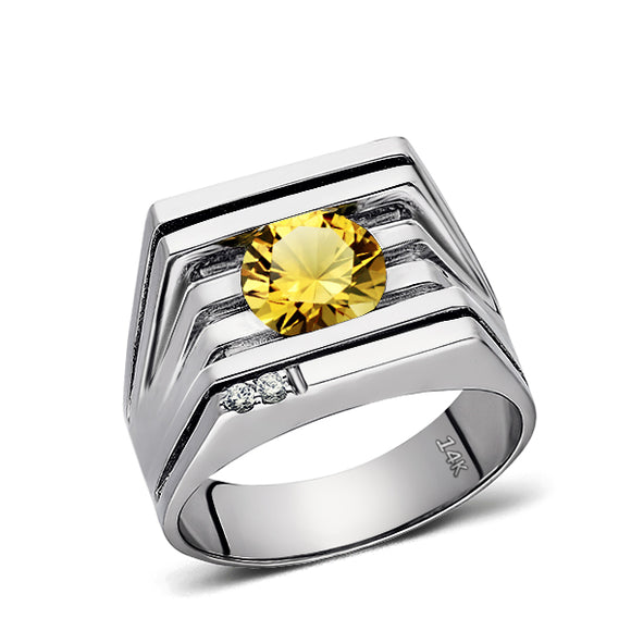 REAL Solid 14K White GOLD Mens Ring Yellow Citrine and 2 DIAMOND Accents