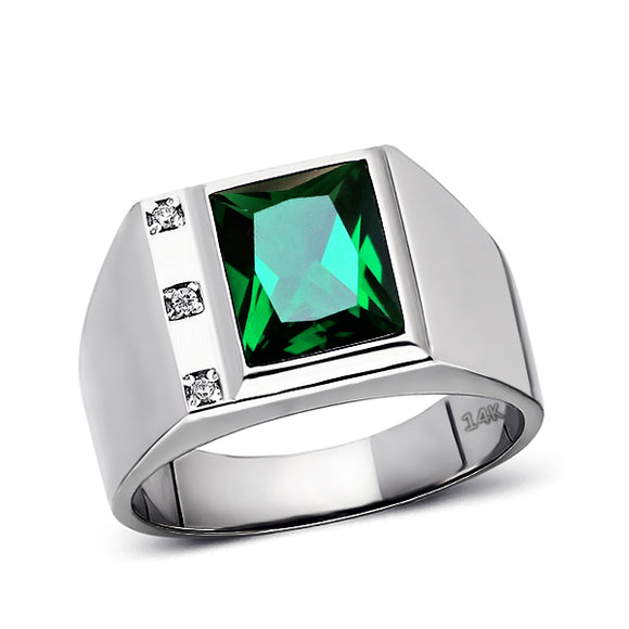 Solid 14K White Gold Emerald Mens Ring 0.06ct Natural Diamonds Ring for Men