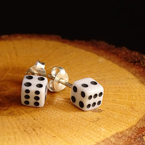 Solid 925 Sterling Silver Dice Shape Men Stud Earrings