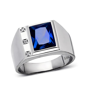 Mens Solid 14K White Gold Sapphire Ring 0.06ct Natural Diamonds Ring for Man