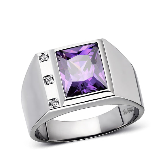 Solid 14K White Gold Amethyst Mens Ring 0.06ct Natural Diamonds Ring for Men