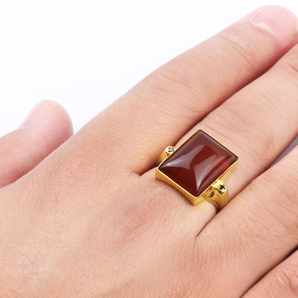 14k Yellow Gold Men's Ring with Natural Red Agate Stone - J  F  M