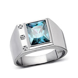 Mens Solid 14K Real White Gold Topaz Ring 0.06ct Natural Diamonds Ring for Man