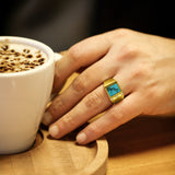 18K Real Yellow Fine Gold Turquoise Mens Ring with 3 Natural Diamond Accents