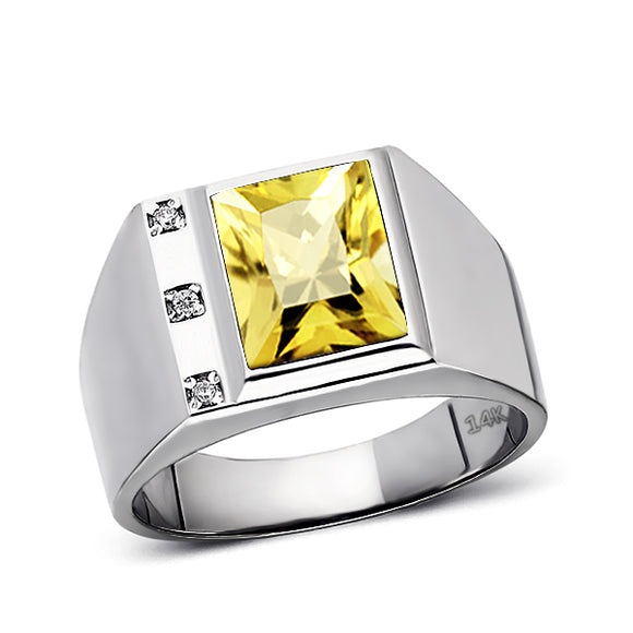 Solid 14K White Gold Citrine Mens Ring 0.06ct Natural Diamonds Ring for Men