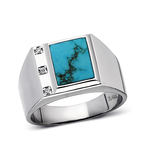 Mens Solid 14K White Gold Turquoise Ring 0.06ct Natural Diamonds Ring for Men