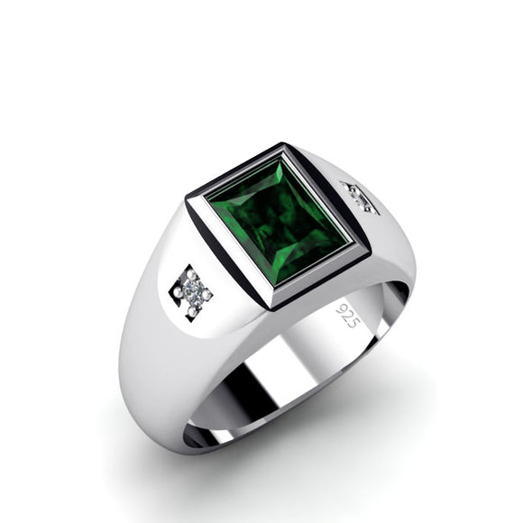 Ring for Man with 2.40ct Emerald Gemstone and 0.06 ct Diamonds in Sterling Silver