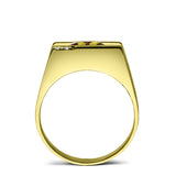 Solid 18K YELLOW GOLD Mens Ring with Citrine and 2 Real DIAMOND Accents