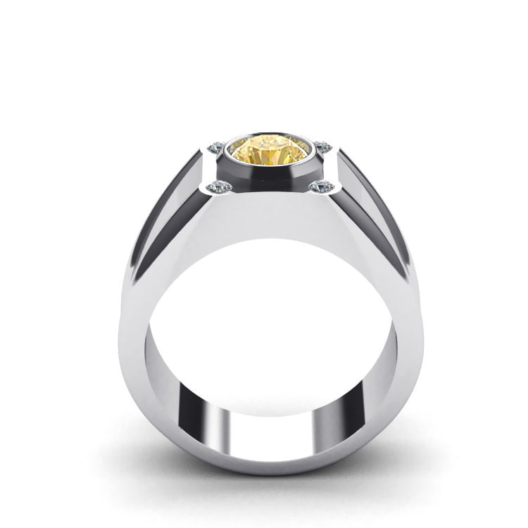 Men's Diamond Ring with Yellow Citrine in 925 Silver Custom Engrave Male Engagement Jewelry