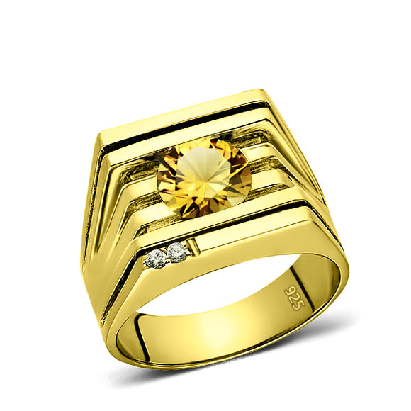 925 Real Solid Silver 18K Gold Plated Citrine 2 Diamond Accent Ring For Men
