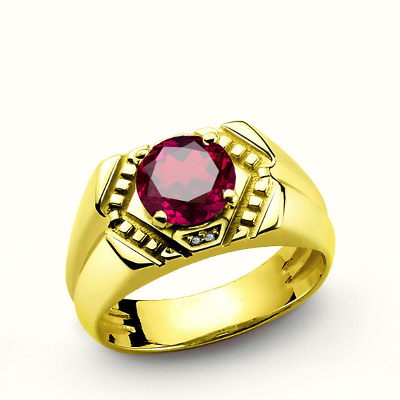 Ruby Men's Ring with Genuine Diamonds in 10k Yellow Gold - J  F  M