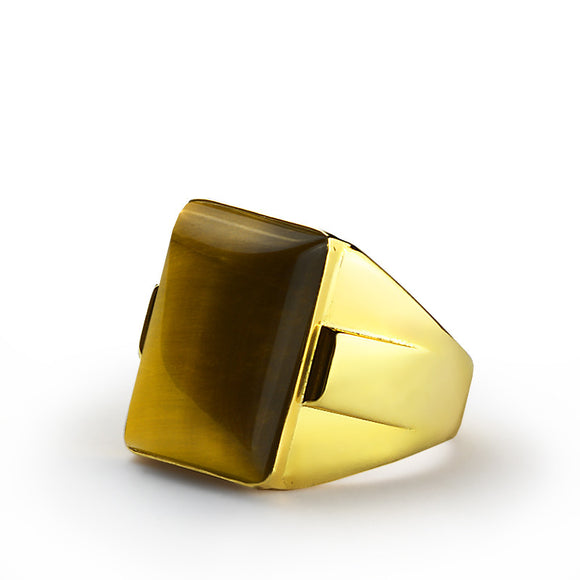 Tiger's Eye Men's Ring in 10k Yellow Gold with Natural Brown Stone - J  F  M