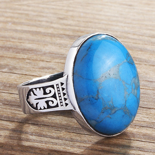Men's Gemstone Ring Sterling Silver with Blue Turquoise Natural Gemstone - J  F  M