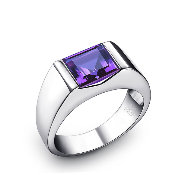 Unique Signet Ring with Amethyst 1.80ct Square Gemstone in 925 Silver Men's Pinky Ring