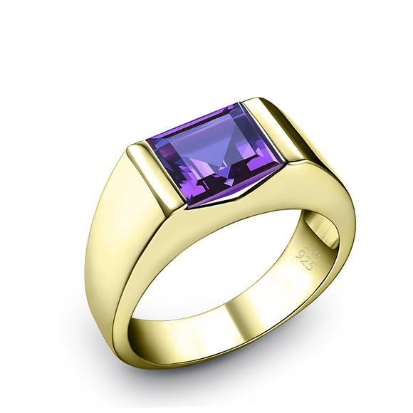 18k Gold Plated Men's Ring with 1.80ct Square Amethyst Male Gemstone Band Gift for Him