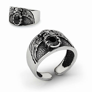 Eagle Ring for Men with Natural Black Onyx in 925 Sterling Silver (adjustable size) - J  F  M