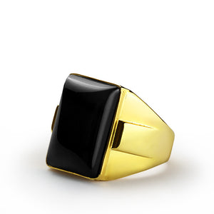 Men's Ring with Black Onyx in 14k Yellow Gold, Natural Stone Ring for Men - J  F  M