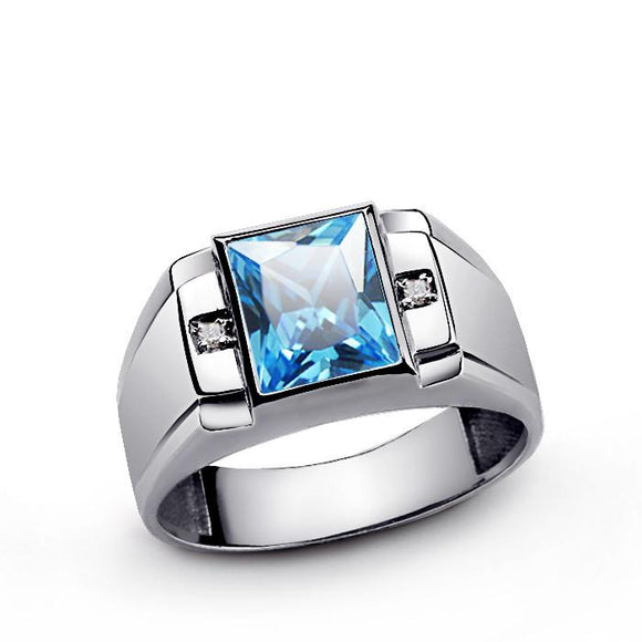 Men's Topaz Ring with Genuine Diamonds in 925 Sterling Silver - J  F  M