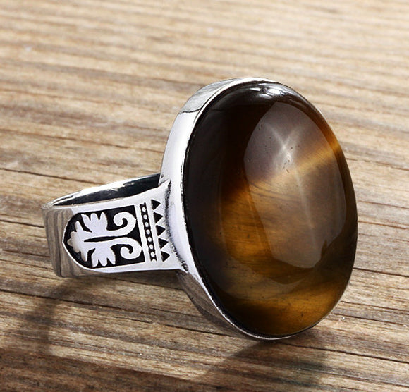 Sterling Silver Men's Ring with Natural Brown Tiger's Eye Gemstone - J  F  M
