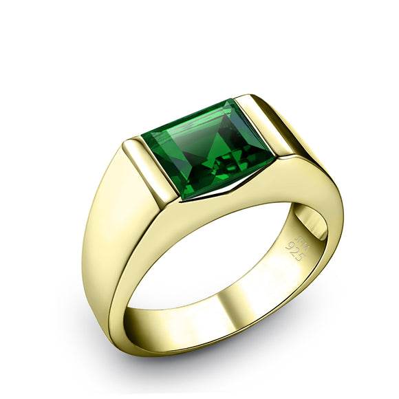 Men's Solitaire Ring with Green Emerald Gemstone 18K Gold Plated Pinky Band Jewelry Gift