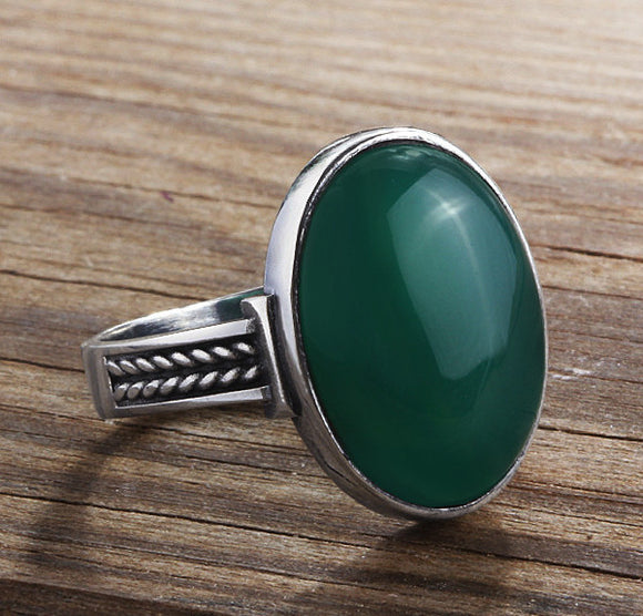 Men's Sterling Silver Ring with Agate Natural Green Gemstone - J  F  M
