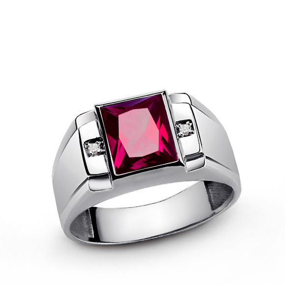 Men's Ruby Ring with Natural Diamonds in 925 Sterling silver - J  F  M