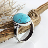 Turquoise Men's Ring in 925 Sterling Silver Natural Blue Stone Ring for Men - J  F  M
