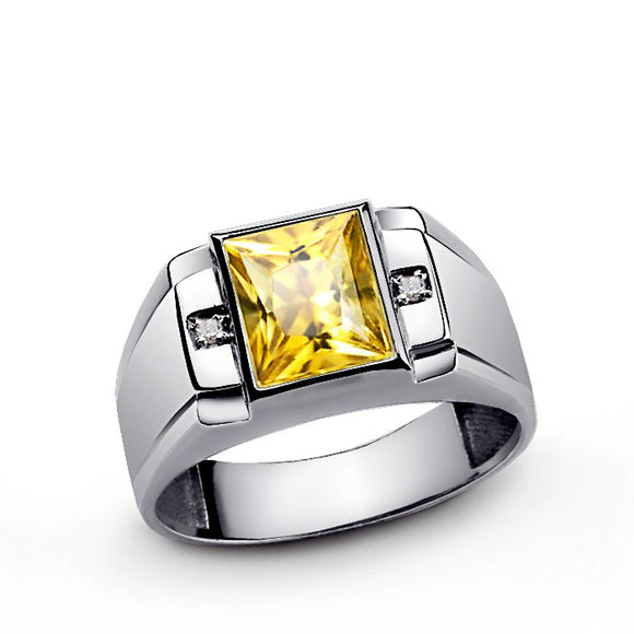 Yellow Citrine Gemstone Men's Ring with Diamonds in Sterling Silver - J  F  M
