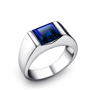 10K White Gold Ring with Gemstone 1.80ct Square Cut Sapphire Turkish Wedding Band