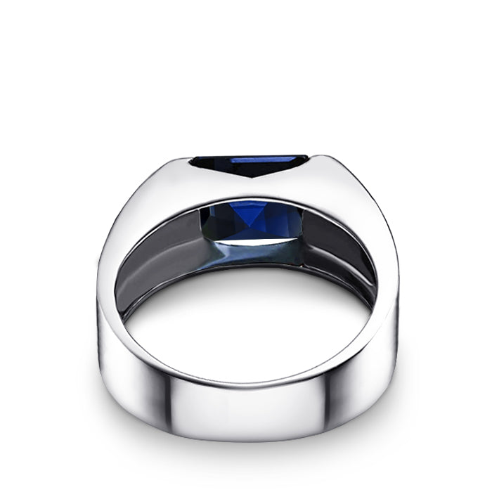 Sapphire Engagement Ring for Man 925 Sterling Silver Minimalist Band Virgo Gift for Him